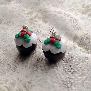 Christmas Pudding Drop Earrings Handmade Kitsch Festive Cute Party fimo