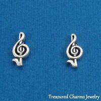 .925 Sterling Silver TREBLE CLEF Music Note Post Stud EARRINGS