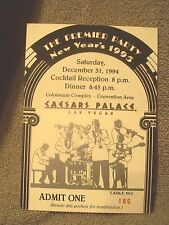Caesars Palace Hotel The Premier Party New Year's 1995 Ticket Stub Las Vegas Nv