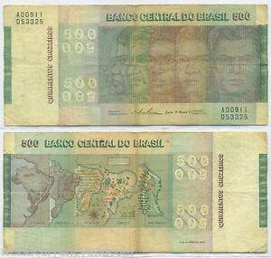 BRAZIL 500 CRUZEIROS P-196 1974 > COMMEMORATIVE< 150th Anny SHIP RACIAL MAP NOTE