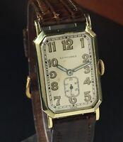 Vintage 1925 LONGINES 14k Solid Gold Art Deco Men's Tank Swiss Watch - 9.47n