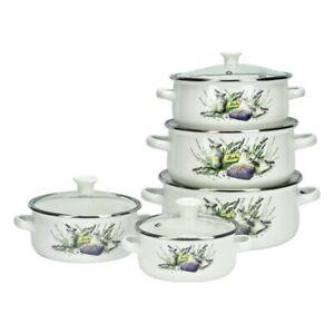 10 Teilig Topfset Emaille Kochtopfset Emaillierte Töpfe Glasdeckel Blumen