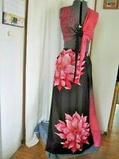 Pink & Black Tie Top & Long Wrap Around Skirt Reg. Size S
