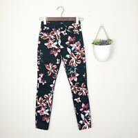 7 FOR ALL MANKIND Women's Size 24 Black Tropical Floral Ankle Skinny Slim Jeans