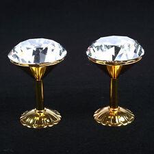 2x 62mm K9 Bicchieri Di Cristallo ORO Tendine Trattenere Gancio A Parete Nappa
