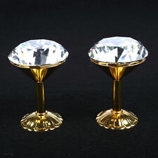 2 x 62mm K9 Glass Crystal GOLD Curtain Hold Back Wall Hook Tassel Holder
