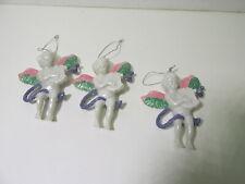 Set Of 3 Plastic Angel Holding Harp Christmas Tree Ornament Decoration ch1308