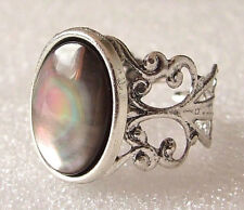 Genuine Black Lip Mother of Pearl Shell Adjustable Ring Size L-T in Gift Box