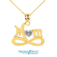 "10k Yellow Gold Infinity ""MOM"" Heart with Diamond Pendant Necklace"