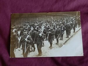 VINTAGE WW 1 ERA REAL PHOTO POSTCARD, SOLDIER POSTCARD TO FATHER & MOTHER