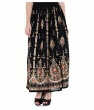 Black Embroidered Designs Rayon Skirt Free Shipping