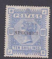 GB264) GB QV 1883-84 SG183s 10/- Ultramarine lettered B J – J B Specimen Ovpt.