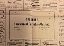 Rare c1935 POULSBO SILVERDALE WA Reliable Hardware Tool Brochure WASHINGTON