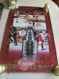 Detroit Red Wings Poster Man Cave, 1997 Stanley Cup Champions, RARE!!