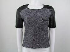 SANDRO SIZE 2 UK 8-10 LEATHER PANELLED TOP AUTHENTIC