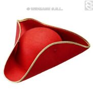 Tricorn Felt - Red Pirate Hats Caps  Headwear for Fancy Dress Costumes  Accesso