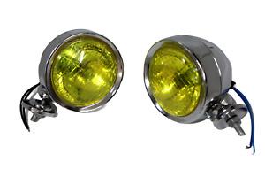 """SPECIAL OFFER. 2 LAMBRETTA / VESPA 4""""/10cm SPOT LIGHT CHROMED CASE YELLOW LENS"""