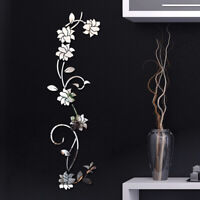 Simple 3D DIY Mirror Effect Flower Vine Wall Stickers Mural Decal Home Decor Wor