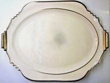 """Antique Leigh Ware Potters Turnbull China Serving Dish 13-7/8"""" Art Deco Gold Rim"""