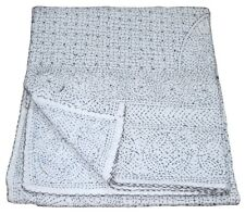 Queen Size Vintage Tribal Kantha White Quilt Cotton Bed Cover Throw Gudari