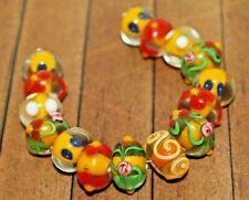 15 pc set Handcrafted Fine Lampwork Glass Beads- Flowers, Dots 12mm-  A2129c