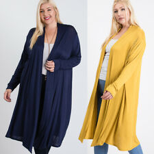 Women's Plus Solid Duster Long Sleeve Draped Swing Lightweight Maxi Cardigan