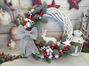 White and red Christmas wreath, Red and silver door wreath, Christmas wreath