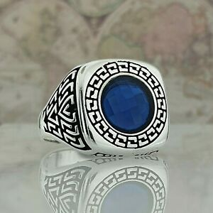 925 Sterling Silver Men Ring Handmade Blue Sapphire Gemstone Ottoman Style