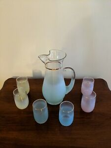 Blendo West Virginia Vintage Frosted Mint Green Pitcher With 6 Multi Colored...
