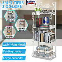 3/4/5 Tier Durable Bookcase Bookshelf Leaning Wall Shelf Shelving Ladder Storage