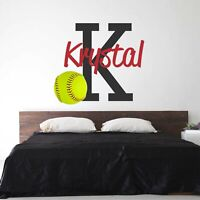 CUSTOM NAME VINYL DECAL WITH REALISTIC SOFTBALL WALL STICKER