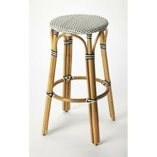 Butler Tobias Bar Stool, Black & White Rattan - 9370295