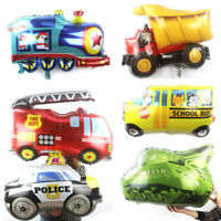 Kids Gift Birthday Cute DIY School Bus Foil Balloon Cartoon Car Fire Truck Toys