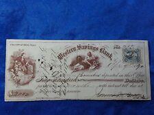 Bank Check, Western Savings Bank 1872. Beautiful Artwork and vignettes