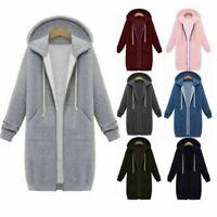 Women Plus Size Winter Zipper Hoodie Sweater Hooded Long Jacket Sweatshirt Coat