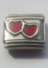 Double Red LOVE HEARTs Italian Charm Bracelet Charms Link
