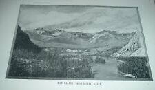 1902 Antique Print BOW VALLEY FROM HOTEL BANFF Canada