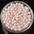 100pcs 6mm Round Glass Pearl Loose Spacer Beads Jewelry Making Baby Pink