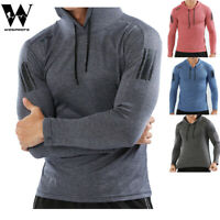 Mens Fitness Hoodies Sportswear Gym Coat Casual Running Hooded Shirts With Caps