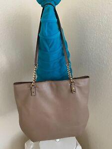 Michael Kors Jet Set Khaki Pebbled Leather Chain Shoulder Tote Handbag