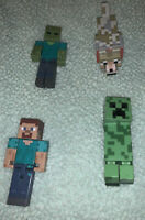 Lot of Four (4) Minecraft Action Figures Zombie,Steve, Tamed Wolf & Creeper
