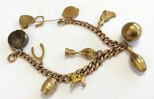 Fabulous Ladies Antique Heavy 9Ct Gold Charm Bracelet With Unusual Charms Superb