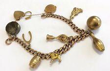Fabuloso Damas Antigua Pesada de 9 quilates de oro encanto pulsera con inusual encantos Excelente
