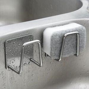 Kitchen Stainless Steel Sink Sponges Holder Self Adhesive Drain Drying Rack