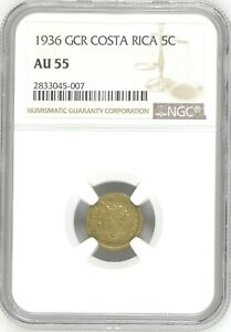 Costa Rica: 5 Centimos 1936 GCR, NGC AU-55, KM# 151 Brass