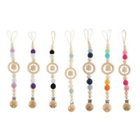 Baby Pacifier Holder Clip Chain Dummy Toy Teether Wooden Beads Ring Shower Gifts