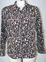 Sag Harbor brown Animal Print Long Sleeve Button Top Womens Size 10 Medium