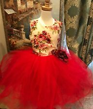 Princess Flower Girl Dress Party Bridesmaid Wedding Pagent Dress Red Floral 7/8