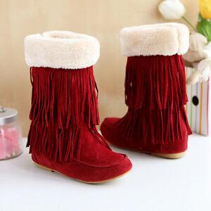 Womens Mid Calf Boots Fur Trim Tassels Fringe Hidden Heel Suede Pull on Shoes