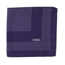 New $180 TOM FORD Midnight Blue Dot Print Silk Pocket Square